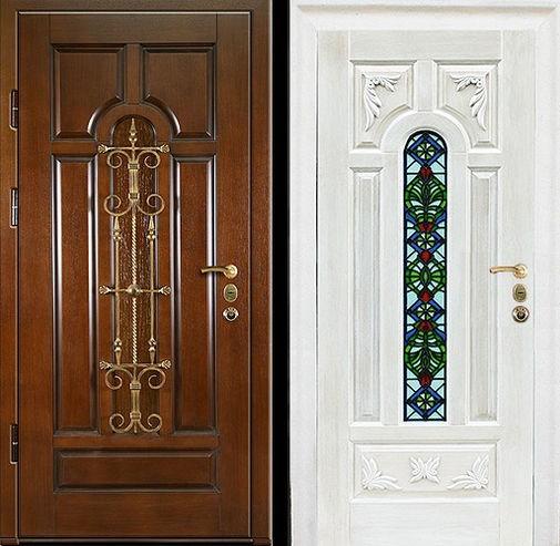 Входная металлическая дверь массив дуба с ковкой и витражом СП316