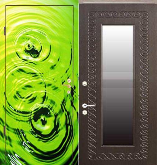 Входная металлическая дверь фотопечать + МДФ (ПВХ) с зеркалом СП066